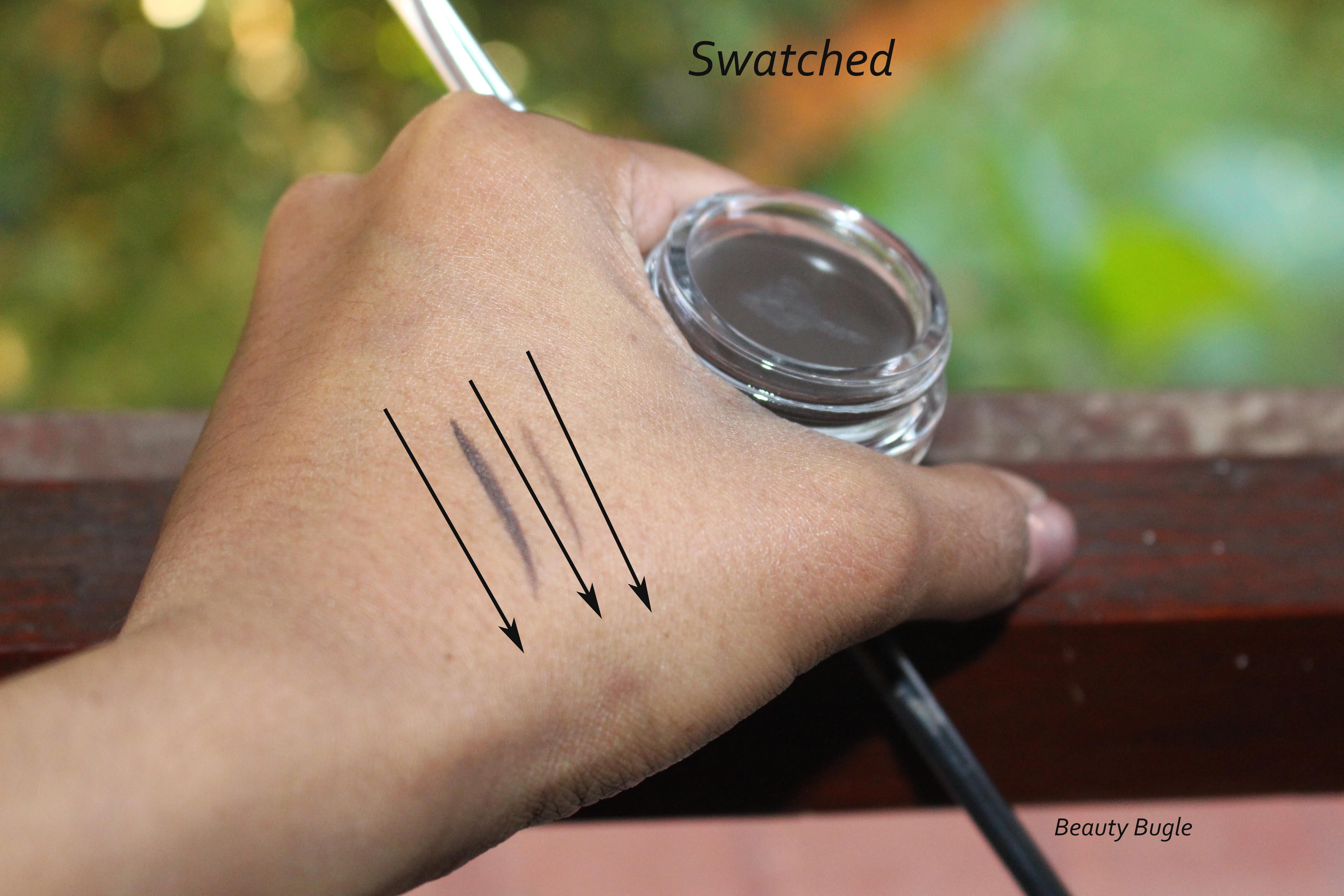 The swatch on the left is a very dark stroke, you do not want to have that amount of product on your brush while the swatch of the right is a small stroke the amount you should . Thus us have when applying the pomade.