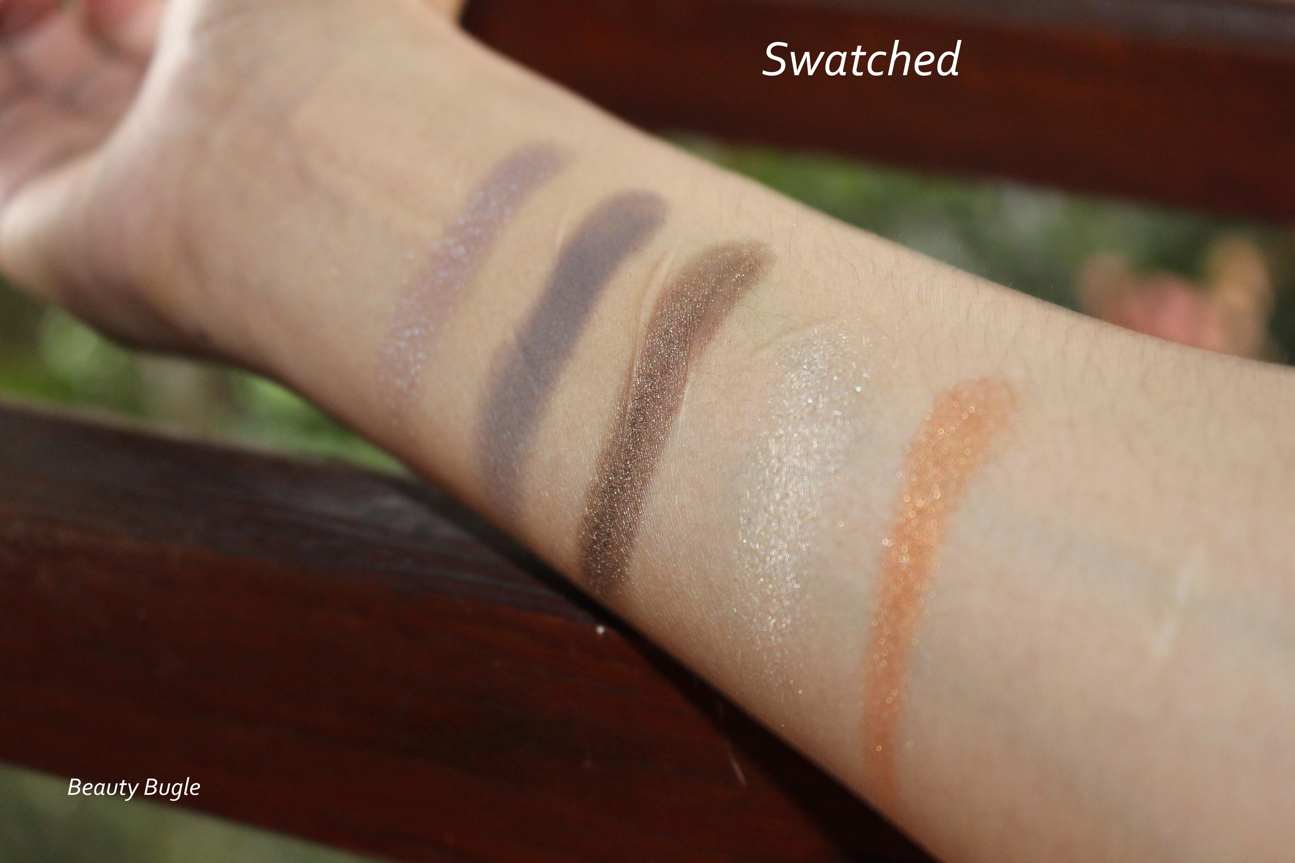 Urban Decay limited Vice palette top row (left to right) Nameless, Backdoor, Deeper, Disco, Heat.