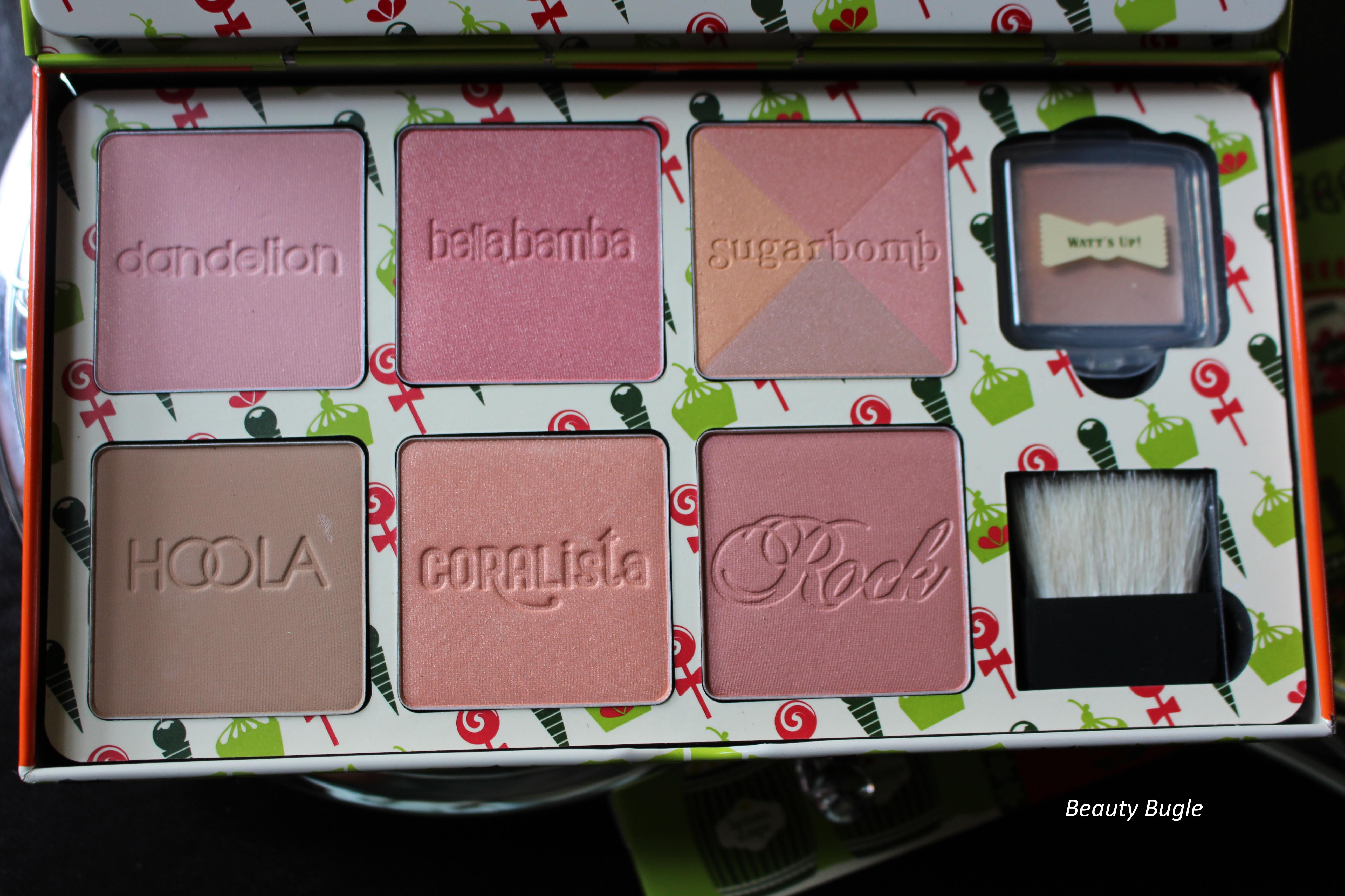 The gorgeous inscribed Benefit Box o' Powders, the Watts Up, highlighter and that mini brush!!!!!!